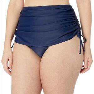COASTAL BLUE Navy Ruched Tie High Rise Swim Bottom
